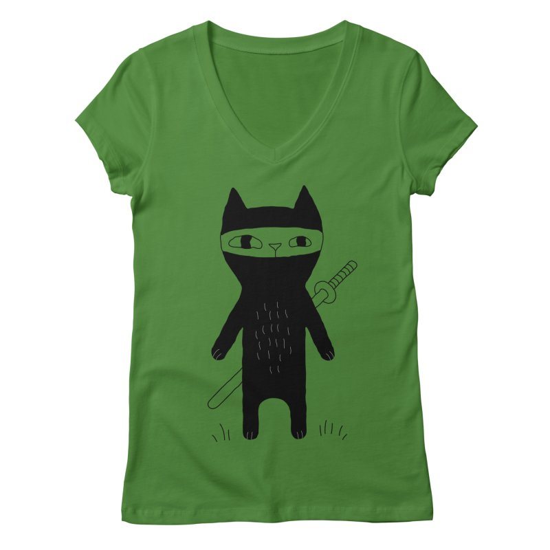Ninja Cat Women's Regular V-Neck by PENARULIT's Artist Shop
