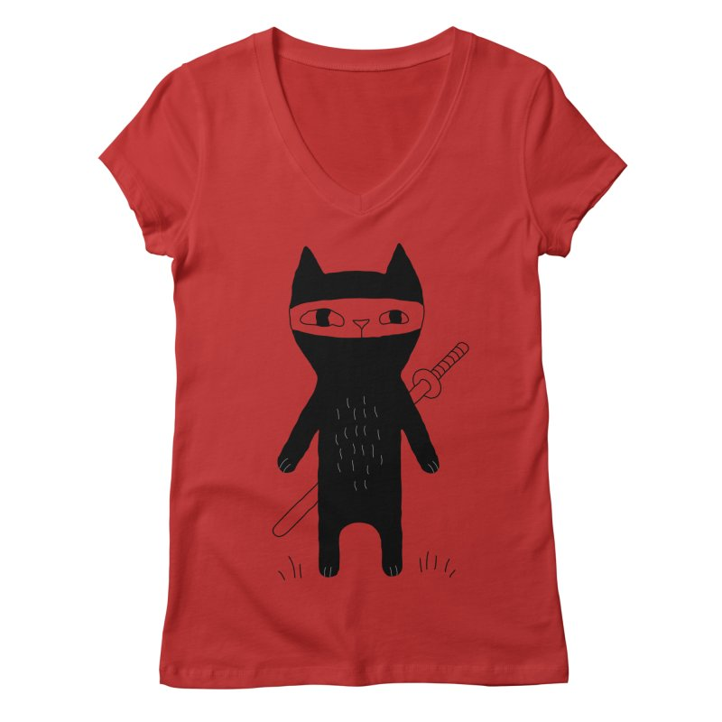 Ninja Cat Women's Regular V-Neck by PENARULIT's Artist Shop