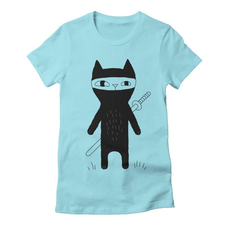 Ninja Cat Women's Fitted T-Shirt by PENARULIT's Artist Shop