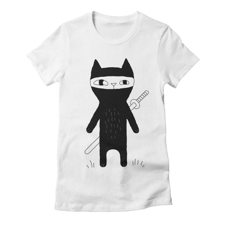 Ninja Cat Women's Fitted T-Shirt by PENARULIT's Artist Shop