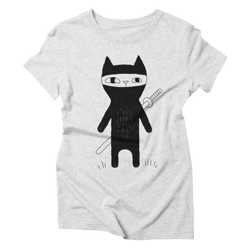 Ninja Cat Women's Triblend T-Shirt by PENARULIT's Artist Shop