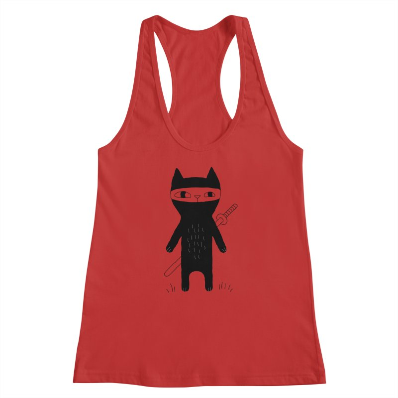 Ninja Cat Women's Racerback Tank by PENARULIT's Artist Shop