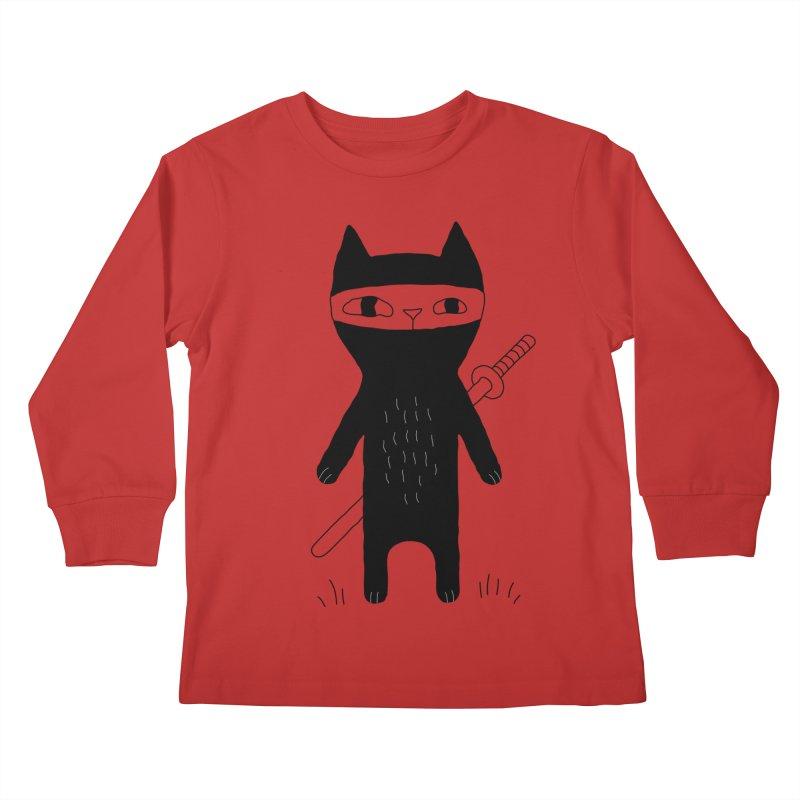 Ninja Cat Kids Longsleeve T-Shirt by PENARULIT's Artist Shop