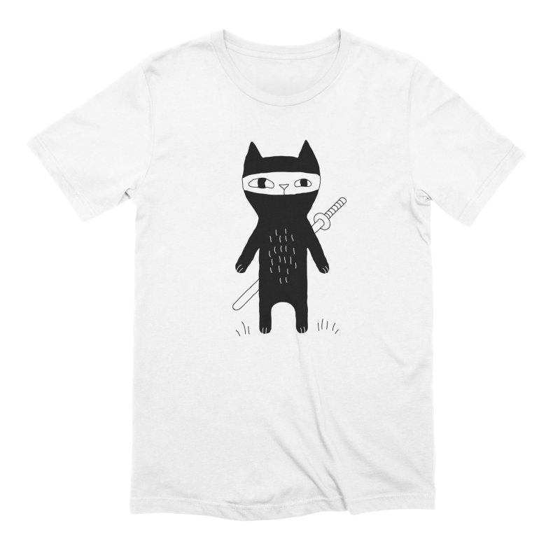 Ninja Cat Men's T-Shirt by Ekaterina Zimodro's Artist Shop