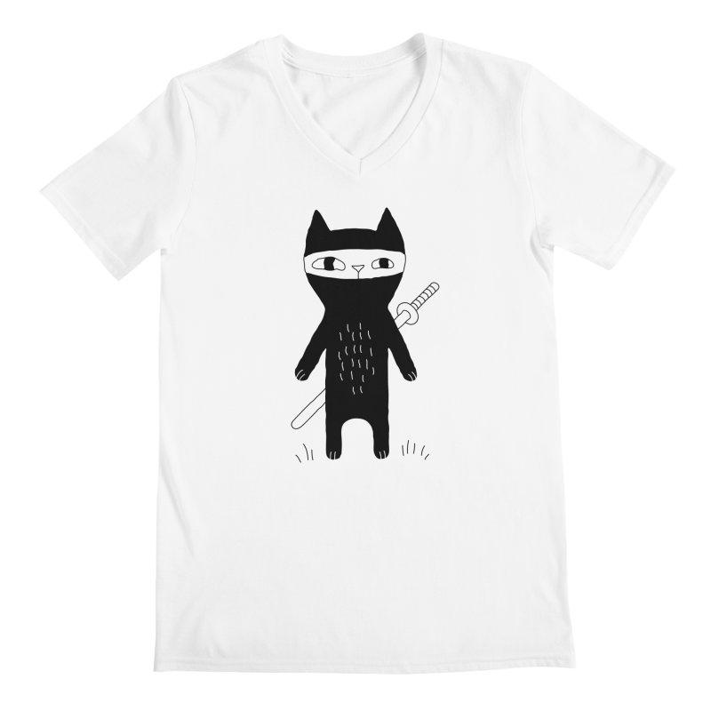 Ninja Cat Men's V-Neck by PENARULIT illustration