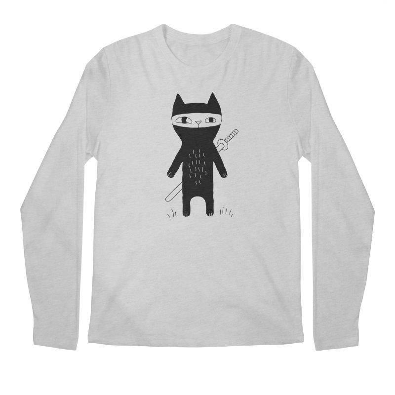 Ninja Cat Men's Longsleeve T-Shirt by Ekaterina Zimodro's Artist Shop