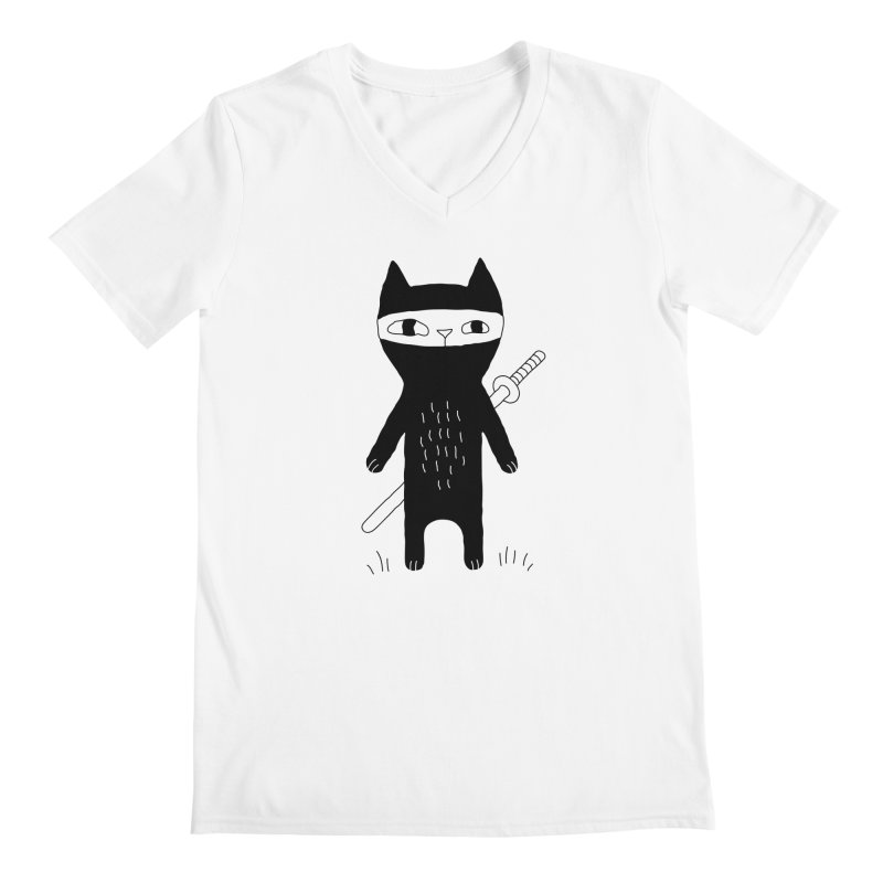 Ninja Cat Men's V-Neck by Ekaterina Zimodro's Artist Shop
