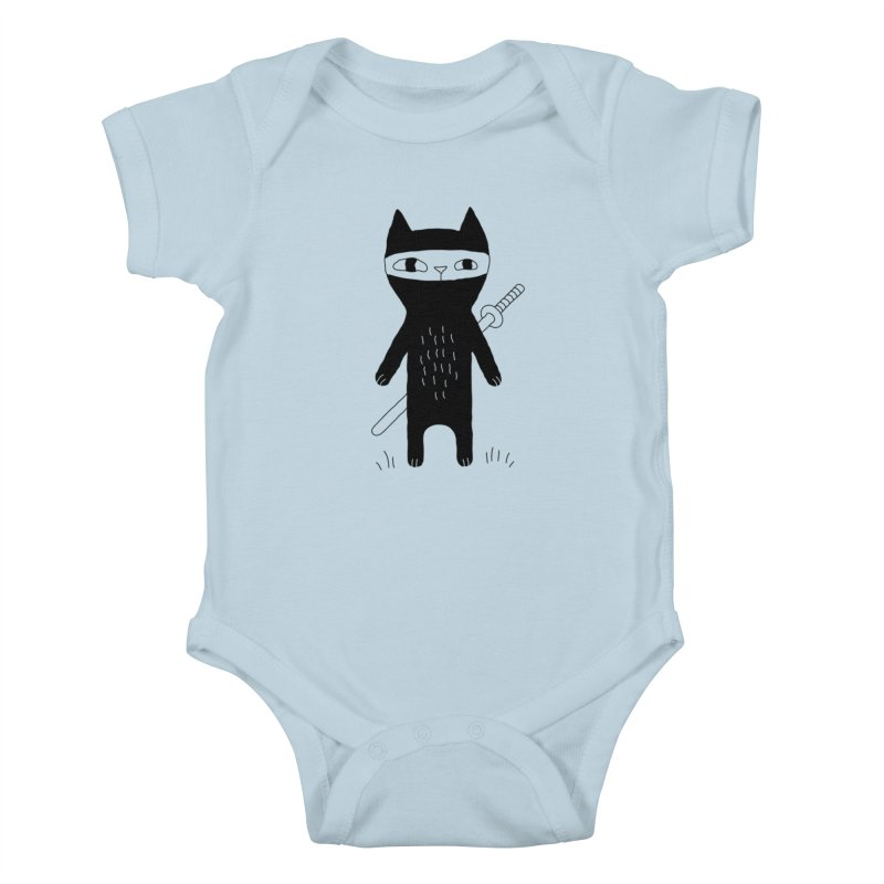 Ninja Cat Kids Baby Bodysuit by PENARULIT illustration