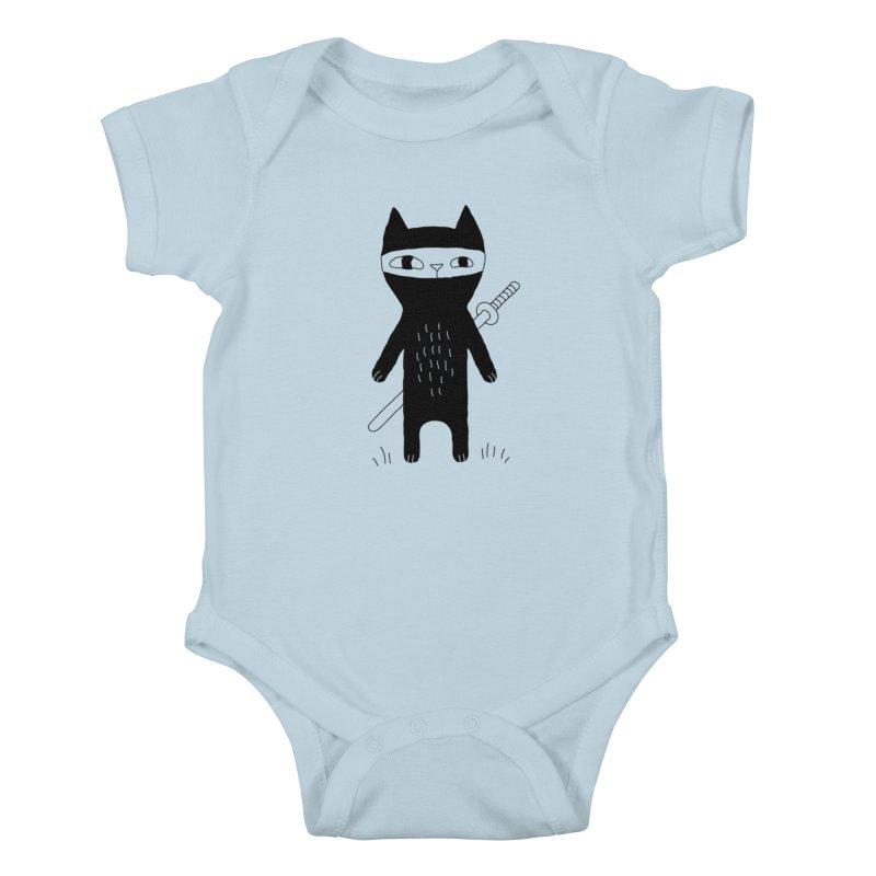 Ninja Cat Kids Baby Bodysuit by Ekaterina Zimodro's Artist Shop
