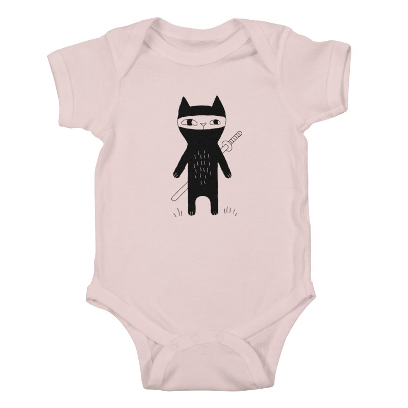 Ninja Cat Kids Baby Bodysuit by Ekaterina Zimodro's Artist Shop