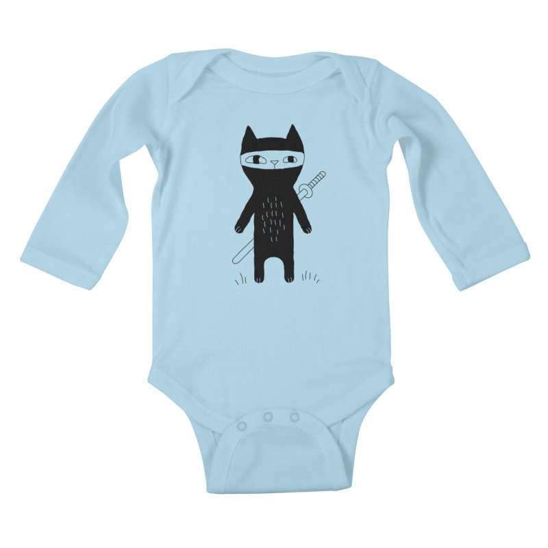 Ninja Cat Kids Baby Longsleeve Bodysuit by PENARULIT illustration