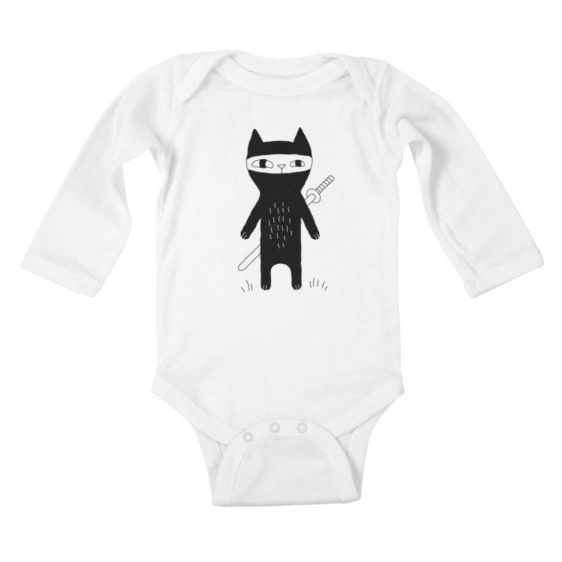 Ninja Cat Kids Baby Longsleeve Bodysuit by PENARULIT illustration