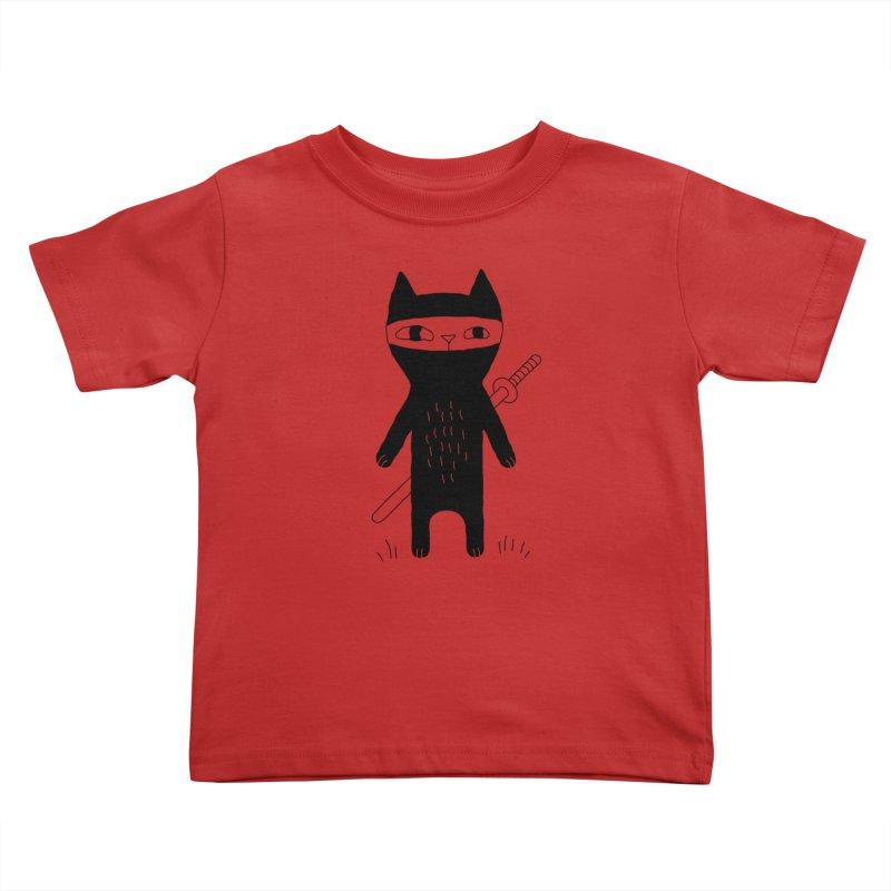Ninja Cat Kids Toddler T-Shirt by Ekaterina Zimodro's Artist Shop