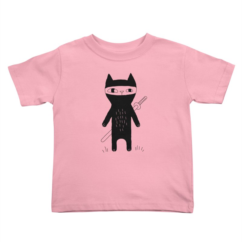Ninja Cat Kids Toddler T-Shirt by PENARULIT illustration