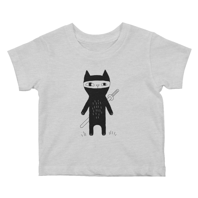 Ninja Cat Kids Baby T-Shirt by PENARULIT illustration