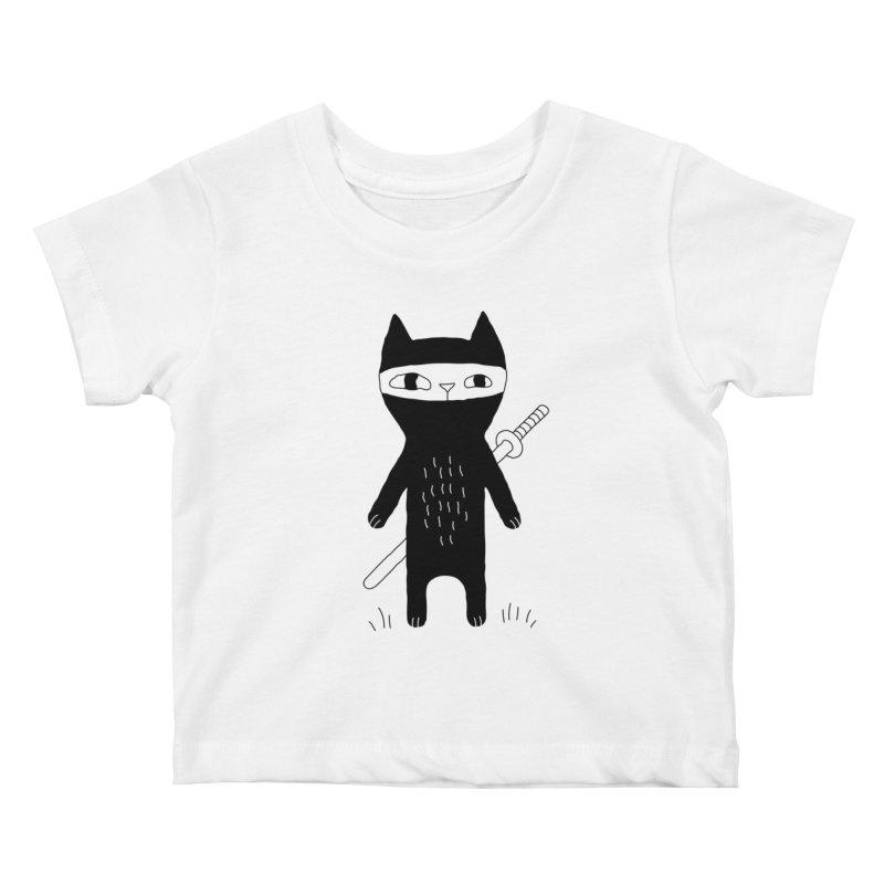 Ninja Cat Kids Baby T-Shirt by PENARULIT illustration