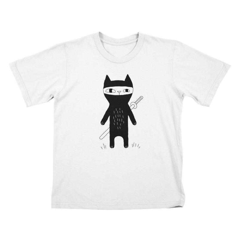 Ninja Cat Kids T-Shirt by Ekaterina Zimodro's Artist Shop