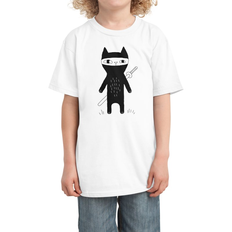 Ninja Cat Kids T-Shirt by Ekaterina Zimodro's Artist Shop