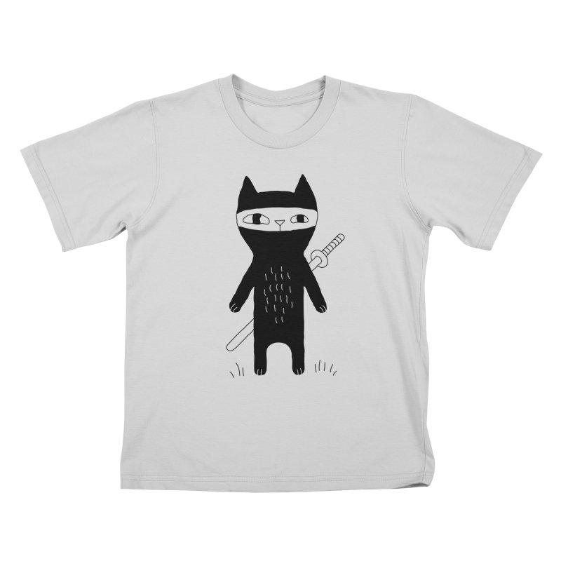 Ninja Cat Kids T-Shirt by PENARULIT illustration