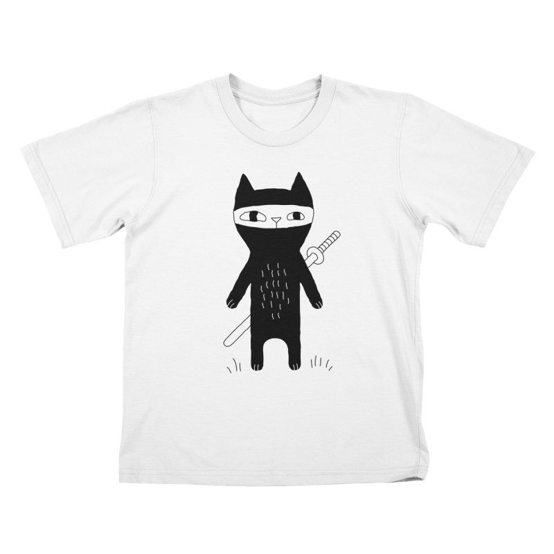 Ninja Cat Kids T-Shirt by PENARULIT illustration