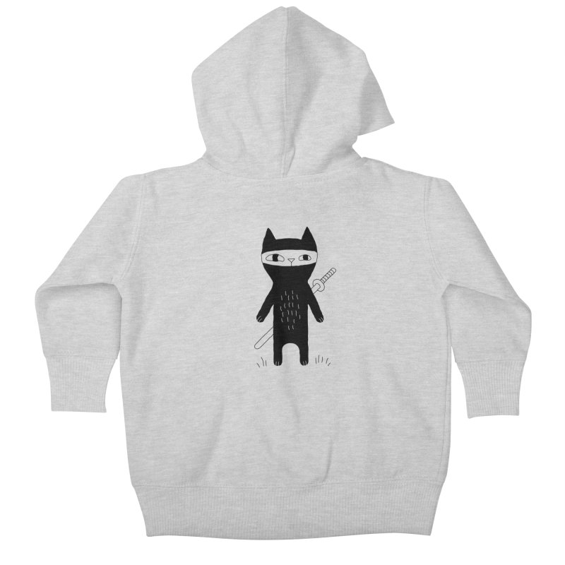 Ninja Cat Kids Baby Zip-Up Hoody by PENARULIT illustration