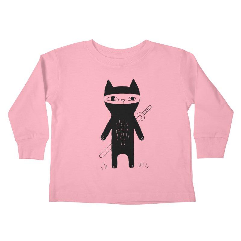 Ninja Cat Kids Toddler Longsleeve T-Shirt by Ekaterina Zimodro's Artist Shop