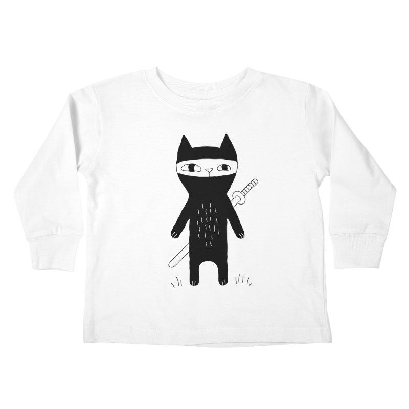 Ninja Cat Kids Toddler Longsleeve T-Shirt by PENARULIT illustration