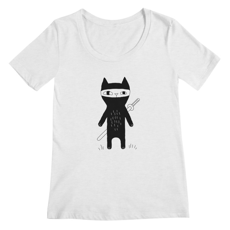 Ninja Cat Women's Scoop Neck by PENARULIT's Artist Shop