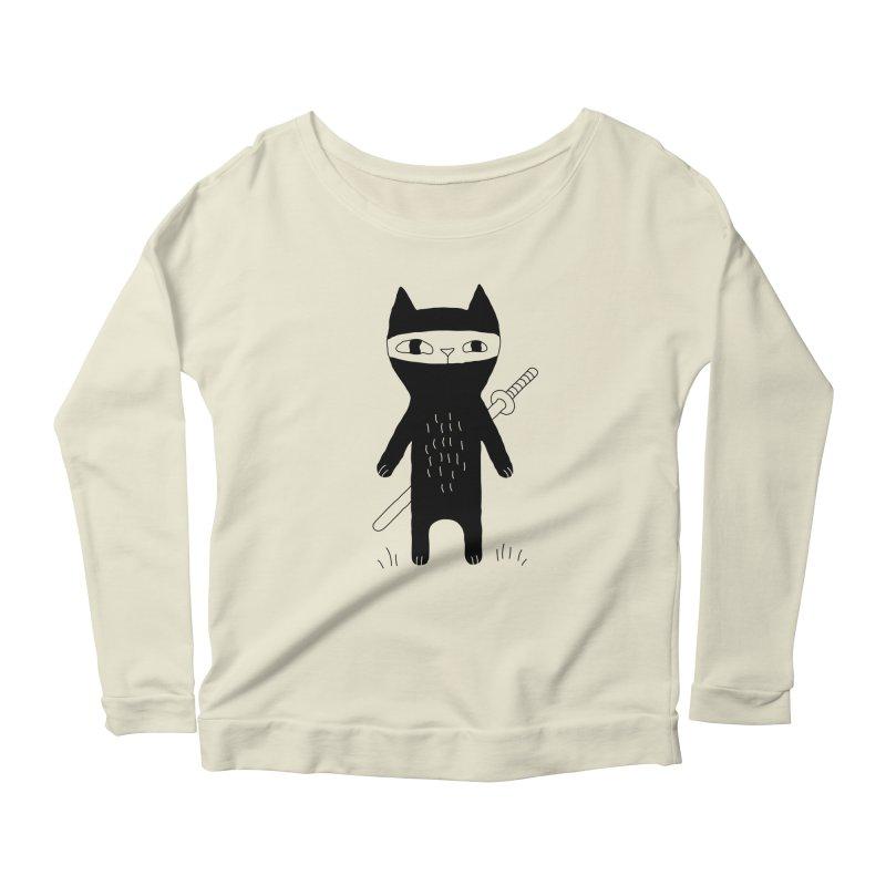 Ninja Cat Women's Longsleeve T-Shirt by Ekaterina Zimodro's Artist Shop
