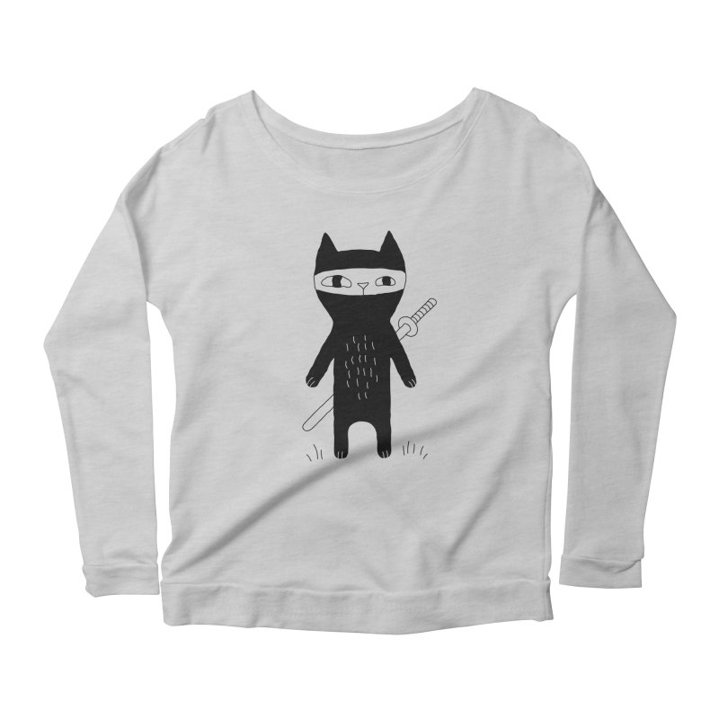 Ninja Cat Women's Longsleeve T-Shirt by PENARULIT illustration