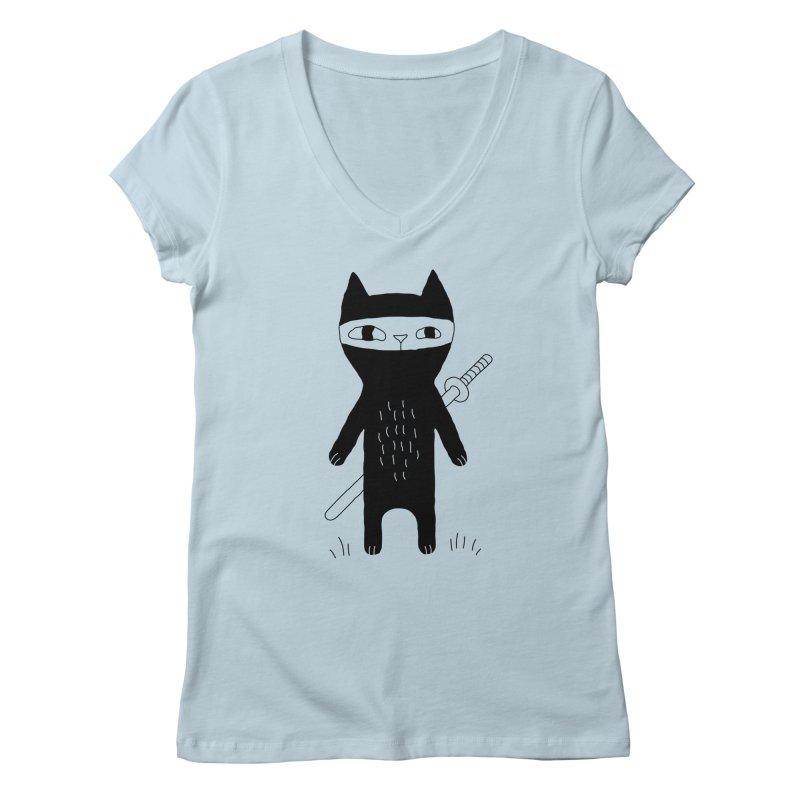 Ninja Cat Women's V-Neck by Ekaterina Zimodro's Artist Shop