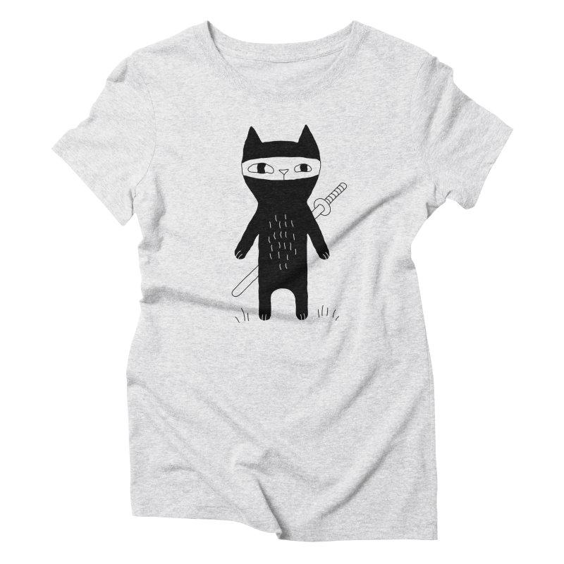 Ninja Cat Women's T-Shirt by Ekaterina Zimodro's Artist Shop
