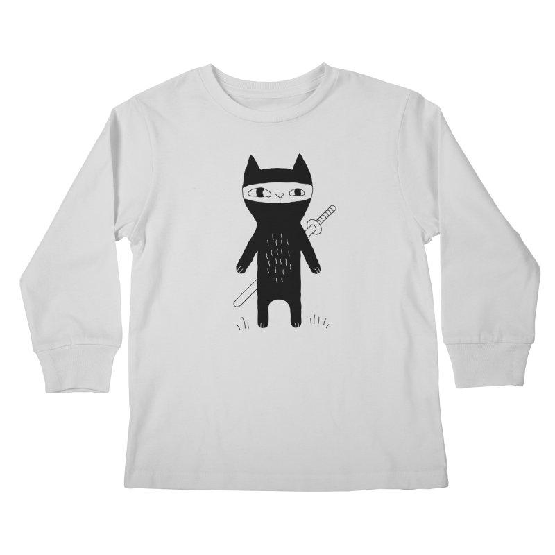 Ninja Cat Kids Longsleeve T-Shirt by Ekaterina Zimodro's Artist Shop