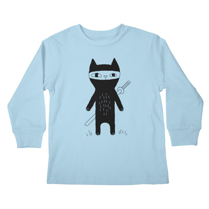 Ninja Cat Kids Longsleeve T-Shirt by Ekaterina Zimodro's Artist Shop