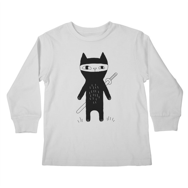 Ninja Cat Kids Longsleeve T-Shirt by PENARULIT illustration