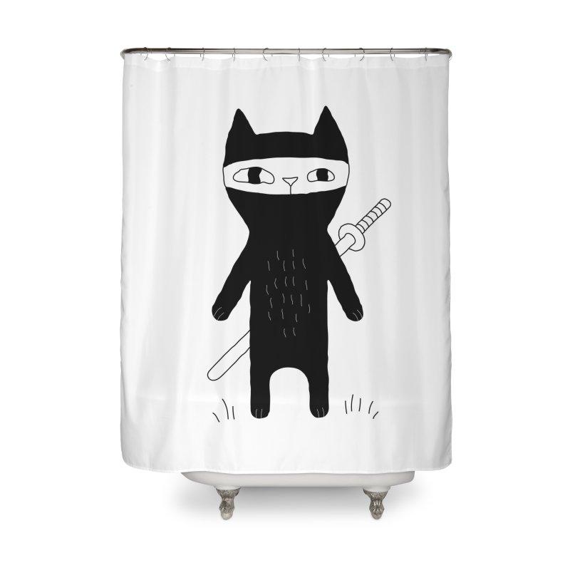 Ninja Cat Home Shower Curtain by PENARULIT's Artist Shop