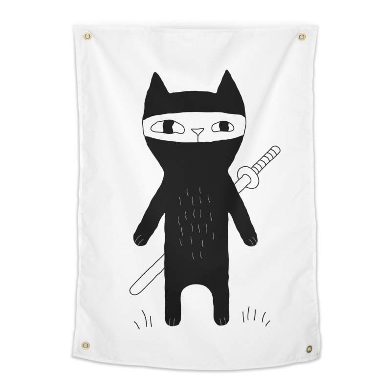 Ninja Cat Home Tapestry by PENARULIT illustration