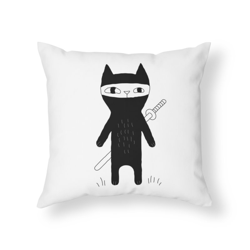 Ninja Cat Home Throw Pillow by PENARULIT illustration