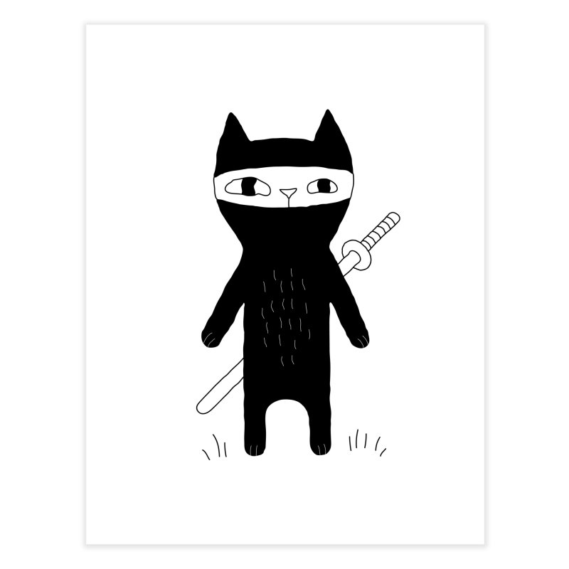 Ninja Cat Home Fine Art Print by PENARULIT illustration
