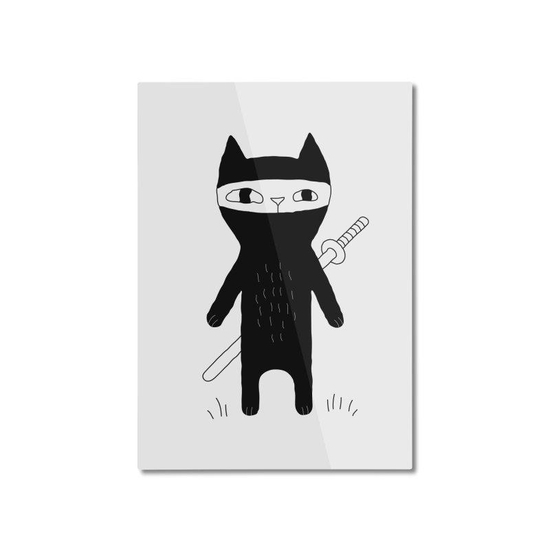 Ninja Cat Home Mounted Aluminum Print by PENARULIT illustration