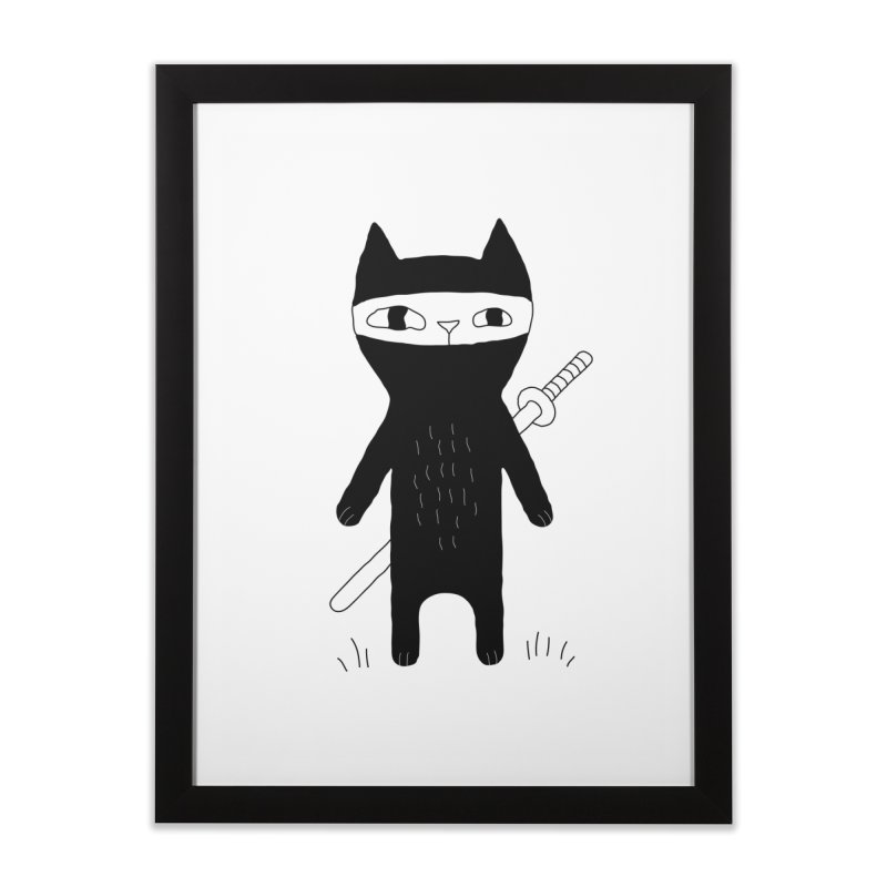 Ninja Cat Home Framed Fine Art Print by Ekaterina Zimodro's Artist Shop