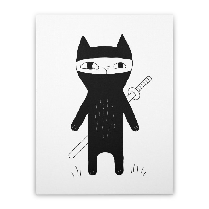 Ninja Cat Home Stretched Canvas by PENARULIT's Artist Shop