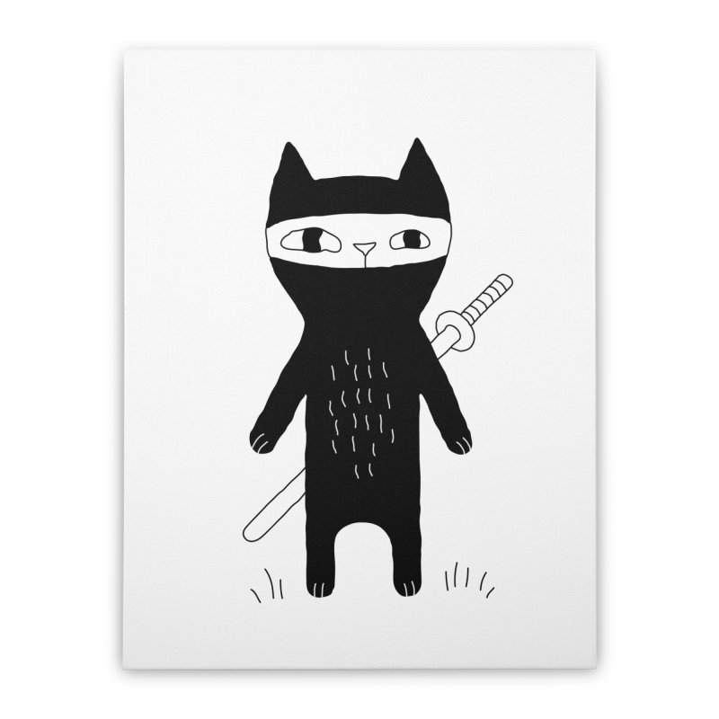 Ninja Cat Home Stretched Canvas by Ekaterina Zimodro's Artist Shop