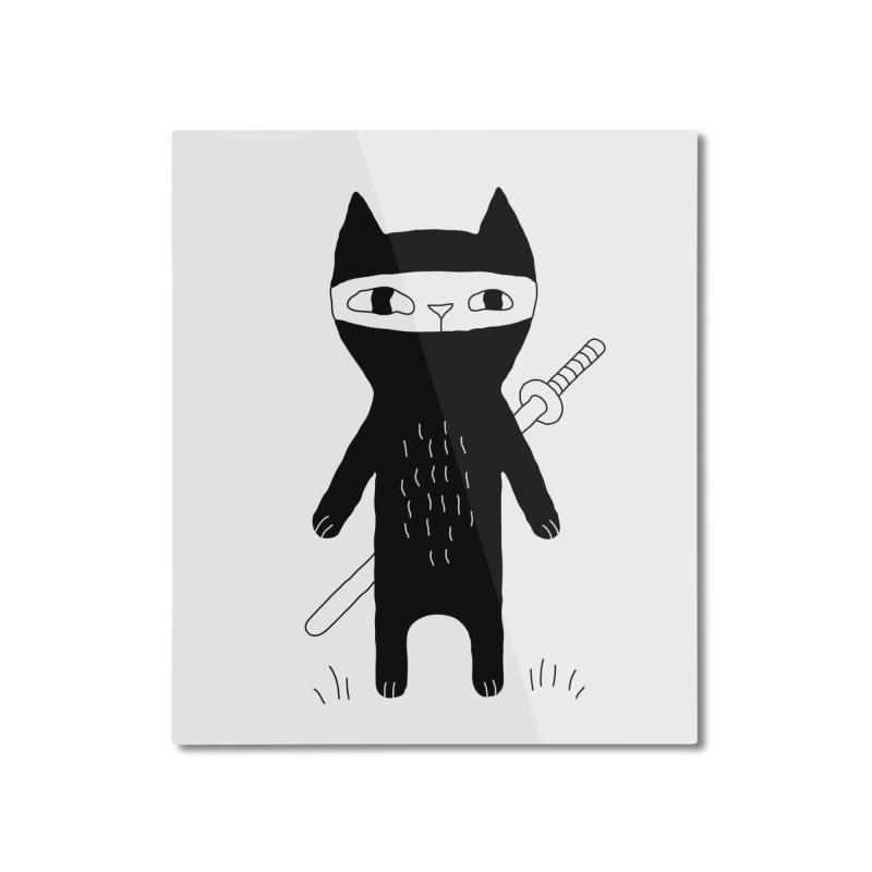 Ninja Cat Home Mounted Aluminum Print by Ekaterina Zimodro's Artist Shop