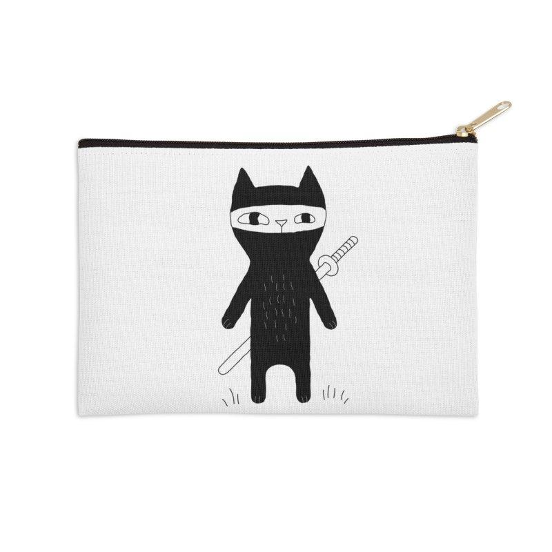 Ninja Cat Accessories Zip Pouch by Ekaterina Zimodro's Artist Shop