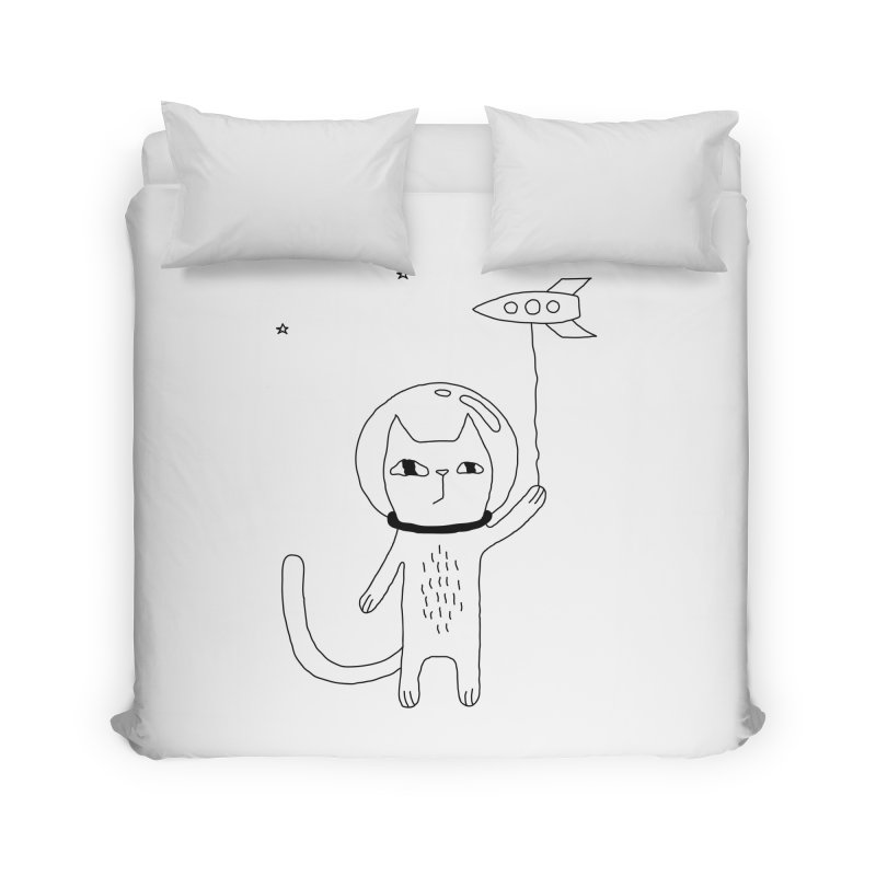 Space Cat Home Duvet by PENARULIT illustration