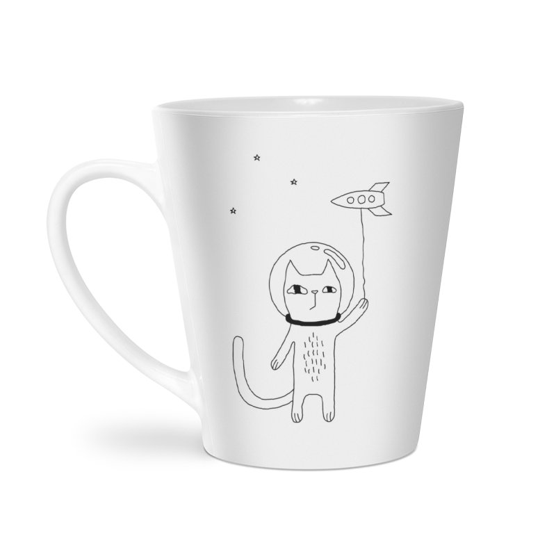 Space Cat Accessories Latte Mug by PENARULIT illustration