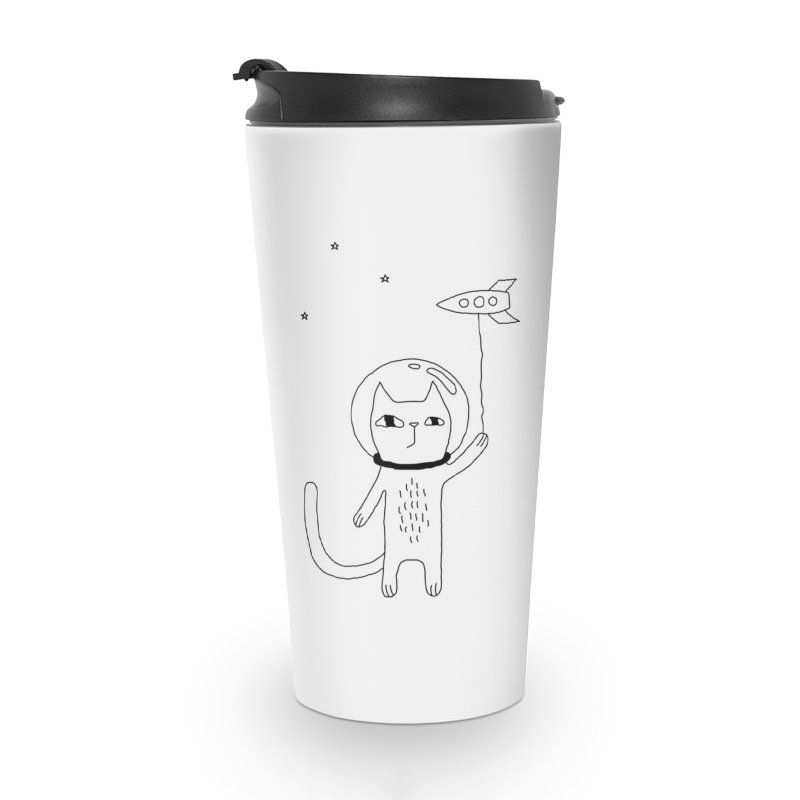 Space Cat Accessories Travel Mug by PENARULIT illustration