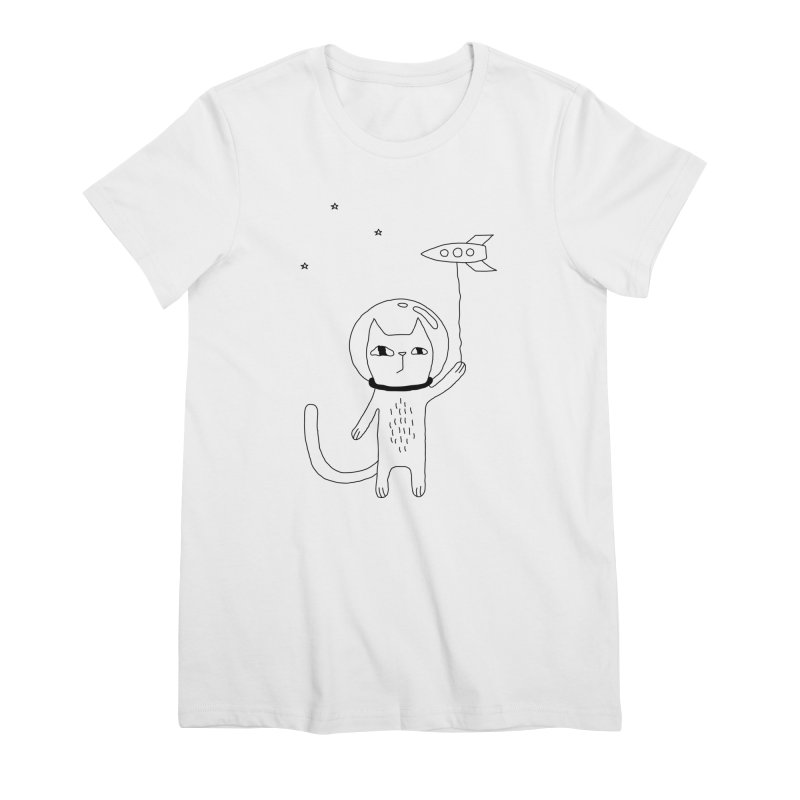 Space Cat Women's Premium T-Shirt by PENARULIT illustration
