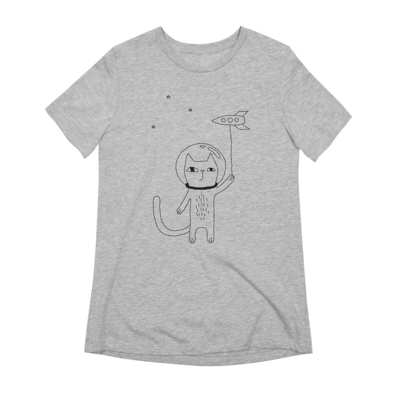 Space Cat Women's Extra Soft T-Shirt by PENARULIT illustration